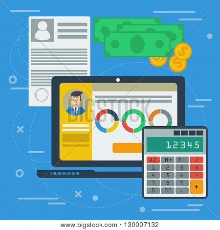 Vector accounting flat illustration with computer app on desktop. Concept of accounting services, making financial balance, budget planning, tax servise. Laptop, money, calculator, documents, graphic