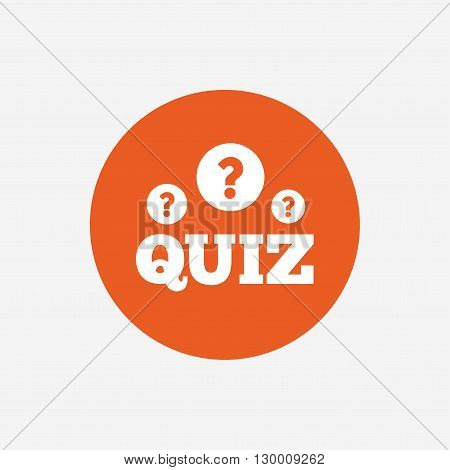 Quiz with question marks sign icon. Questions and answers game symbol. Orange circle button with icon. Vector