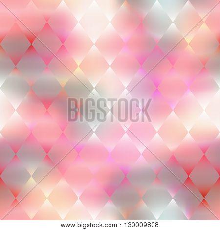 Seamless background pattern.  Pink rhombus geometric pattern on blur background.