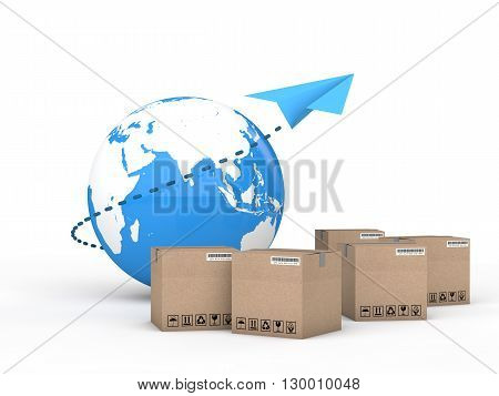 3d render of Earth globe and cartons with a paper plane. International cargo delivery concept.