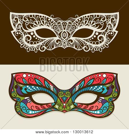 Festive masks. Vector mask silhouette and colored mask in butterfly colors