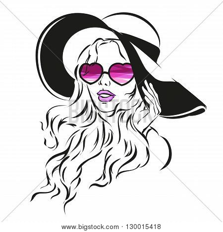 Girl In Sunglasses And Big Hat Vector