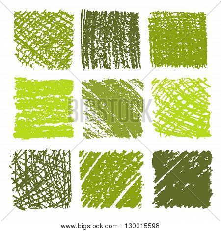 Set of crayon drawn textures .  Hand drawing green background. Isolated vector illustration.