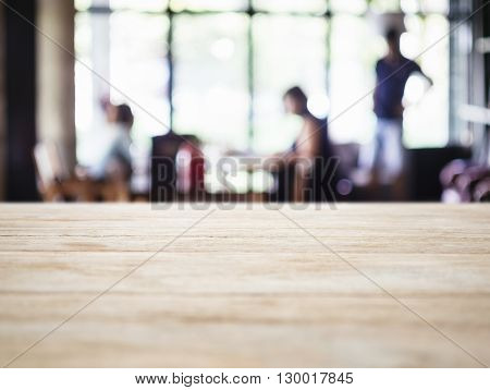 Table top Counter with Blurred People in Restaurant Shop interior background