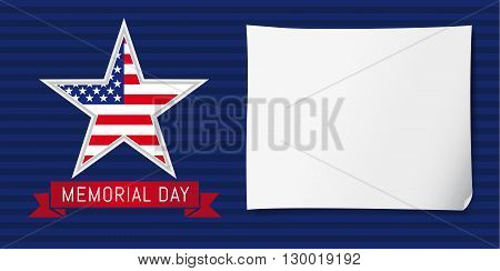 Memorial day USA poster. Happy Memorial Day vector background template with star in national flag colors