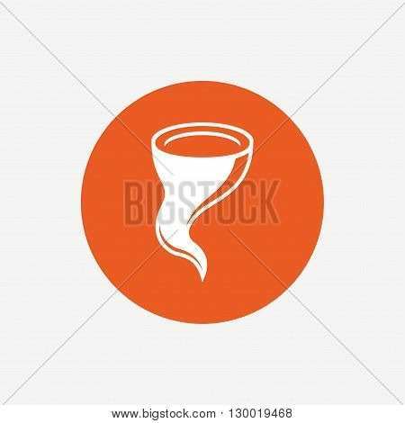 Storm sign icon. Gale hurricane symbol. Destruction and disaster from wind. Insurance symbol. Orange circle button with icon. Vector