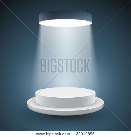 illuminated white round podium on dark background. Vector illustration.