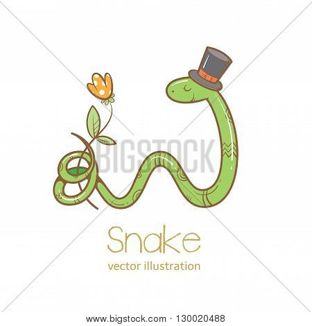 Summer card with cute cartoon  snake  in  hat  that keeps the tail flower.  Vector image. Children's illustration.