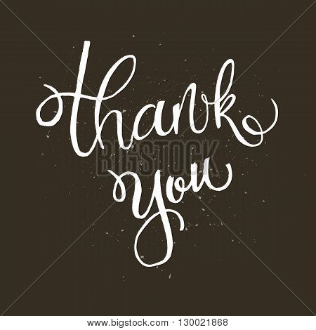 Handwritten vector lettering phrase Thank you. Brush lettering calligraphy style writing. Whimsical letters on dark chalkboard looking scratched textured surface. Perfect for thank you cards