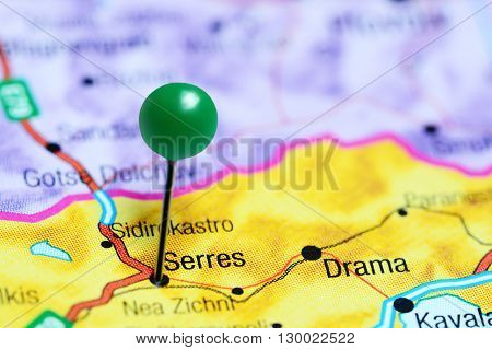 Serres pinned on a map of Greece