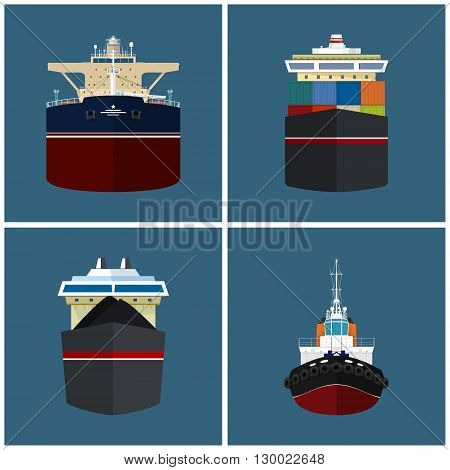 Front View of the Vessel, Cargo Container Ship, Oil Tanker, Dry Cargo Ship, Tugboat,   International Freight Transportation, Vessel for the Transportation of Goods, Vector Illustration