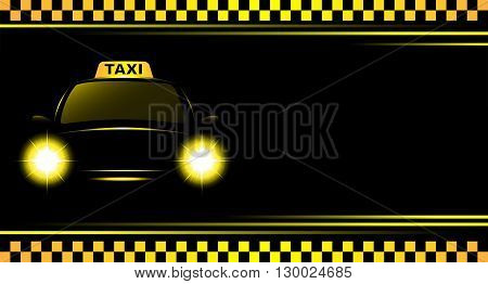 business card and black background with taxi sign and cab