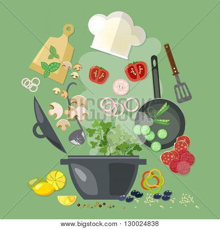 Creative cooking collection cookbook flying kitchen tools and vegetables vector illustration