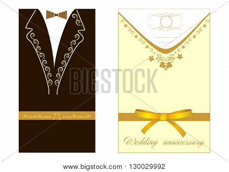 Invitation to wedding for two editable and scaleable vector illustration