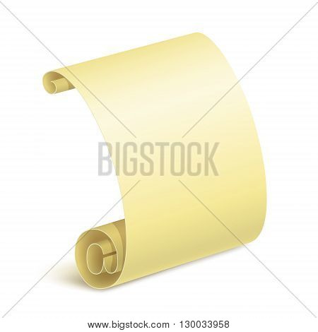 Rolled paper sheet with e-mail sign and small shadow