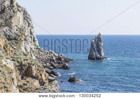 background landscape view of the rock Sail near the Swallow's Nest, Gaspra, Yalta