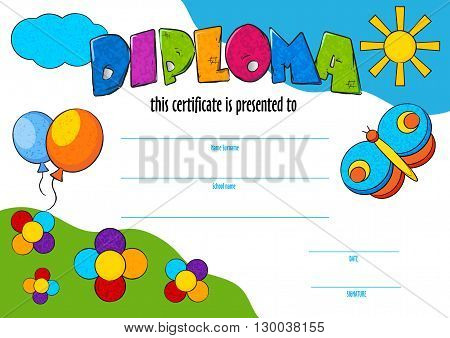 template vector of child diploma or certificate to be awarded. kindergarten Preschool kids Diploma design template. vector certificate for competition, art contest or sports winner.