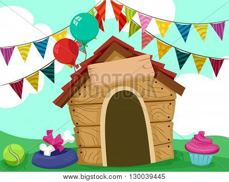 Illustration of a Dog House Decorated with Party Supplies