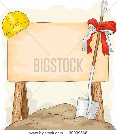 Illustration of a Shovel Placed Beside a Construction Sign for Groundbreaking