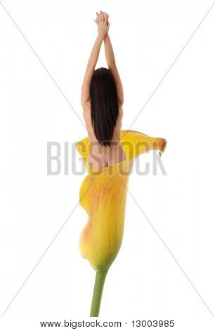 Nude woman in calla isolated on white background - body care concept