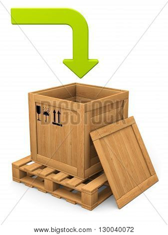 Download concept. Open wooden box witn lid on pallet. Green bent arrow. Isolated on white.