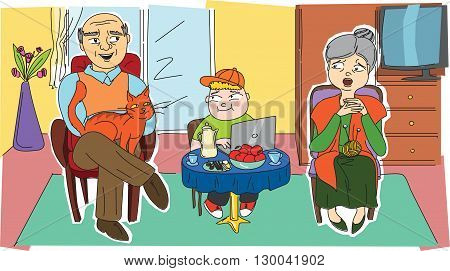 Happy grandparents and their grandchild that are in a room