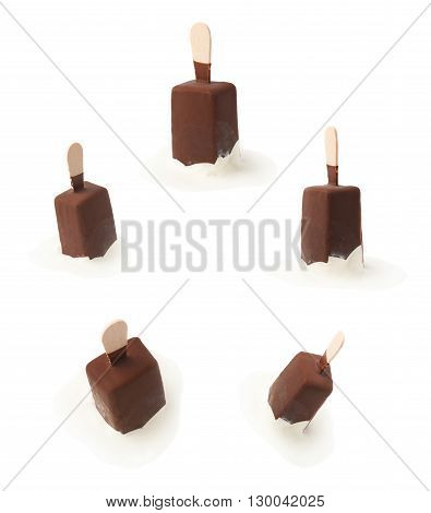 Melting chocolate covered vanilla ice cream bar on a wooden stick in a puddle of melt ice-cream, composition isolated over the white background, set of two different foreshortenings