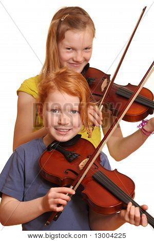 Two Happy Girls With Violins