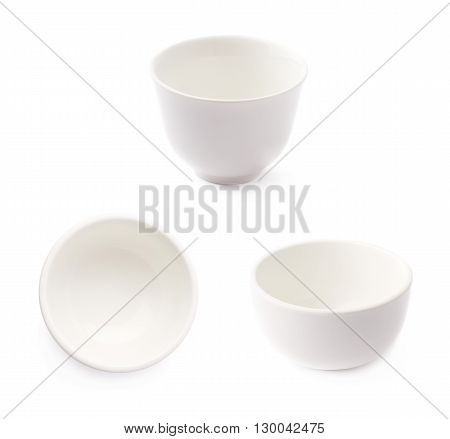 Small white ceramic bowl isolated over the white background, set of three different foreshortenings