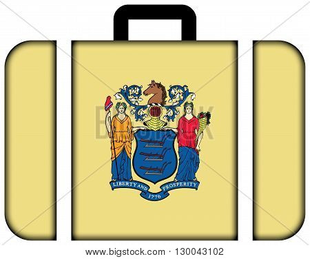 Flag Of New Jersey State. Suitcase Icon, Travel And Transportation Concept