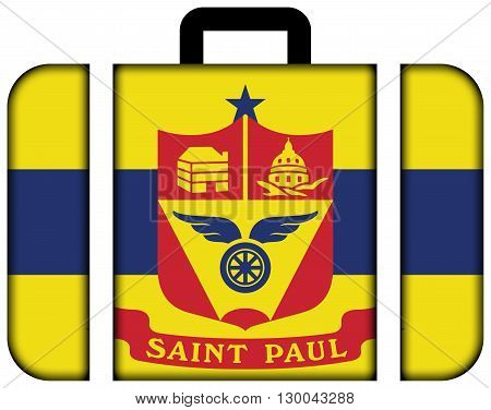 Flag Of Saint Paul, Minnesota. Suitcase Icon, Travel And Transportation Concept
