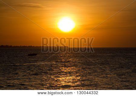 Dramatic shot of sunset over Zanzibar coast