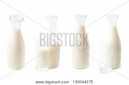 Glass of milk next to the bottle isolated over the white background, set of four different foreshortenings