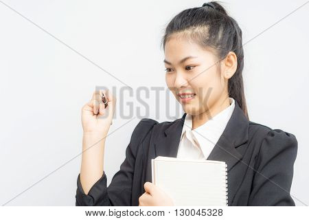 Beautiful Businesswoman Portrait Hold Pen And Notebook