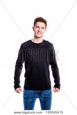 Boy In Jeans And T-shirt, Young Man, Studio Shot