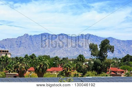 Santa Catalina Mountains viewed from downtown Tucson Arizona