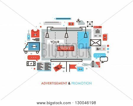 Thin line flat design of billboard advertising story promotion promo graphics materials marketing campaign solution for new product. Modern vector illustration concept isolated on white background.