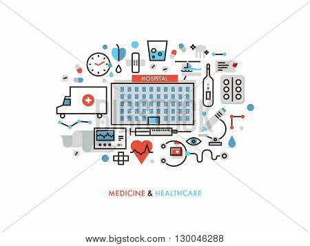 Thin line flat design of city medicine services hospital building with medical supplies ambulance emergency help for illness patient. Modern vector illustration concept isolated on white background.