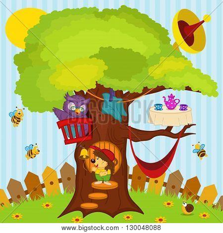 hedgehog came to visit owl - vector illustration, eps