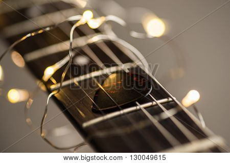 Guitar Frets With Mediator, Strings And Lights