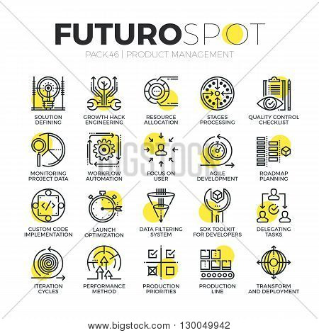 Stroke line icons set of agile product management project workflow process. Modern flat linear pictogram concept. Premium quality outline symbol collection. Simple vector material design of web graphics.