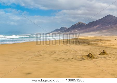 Cofete Beach With Jandia Massif In The Background - Jandia Fuerteventura Canary Islands Spain