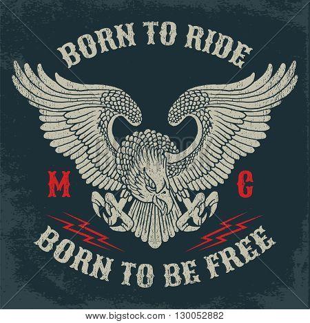 American Eagle Motorcycle Club Emblem.Vintage typography design for biker club, custom shop, t-shirts, prints.