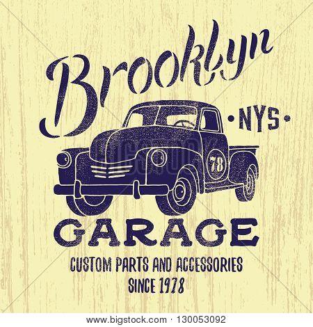 Vintage Pik Up illustration.Tee or apparel print design with grunge effect.