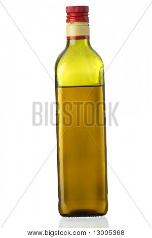 Extra-virgin olive oil bottle isolated