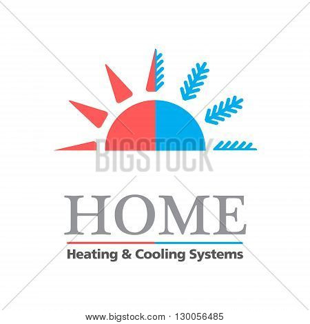 Heating & Cooling systems business icon vector template. Brand visualization template. Sample text. Vector illustration symbolizing home cooling & heating climate control system. Typography proposal. Editable
