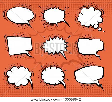 Comic speech bubbles, funny balloons with halftone shadows. Vector set illustration. Bubble comic for speech and think, chat bubble communication set
