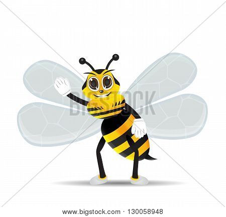 vector happy bee cartoon character say hallo and smile
