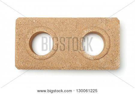 Top view of dry pressed brick isolated on white