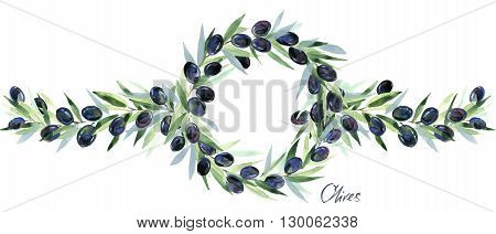 Olive.Olives branches. Olive Branches with Olives. Olives watercolor illustration